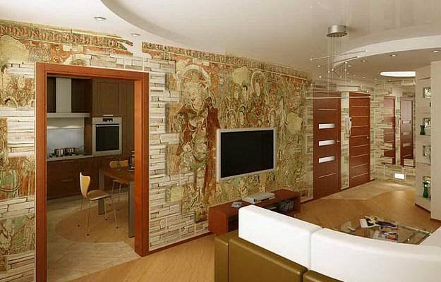 Отделка стен с использованием декоративного камня